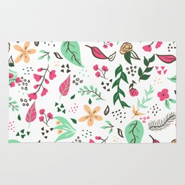 Modern hand drawn spring floral pattern pink green yellow flowers illustration Rug