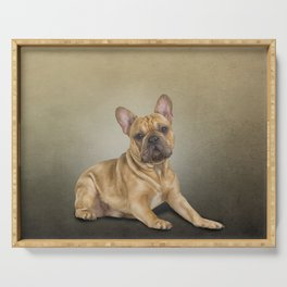Drawing dog French Bulldog Serving Tray