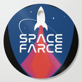 Space Force Space Farce Logo graphic parody Blue Black Military Cutting Board