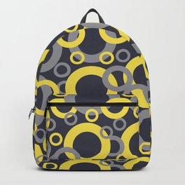 Yellow Grey Navy Blue Circle Pattern Pantone 2021 Color of the Years and Accent Shades Backpack