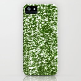 Green glitter rain iPhone Case