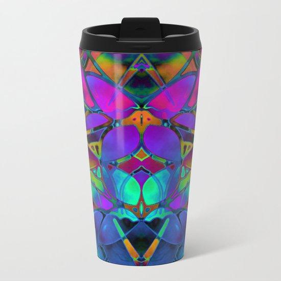 Floral Fractal Art G308 Metal Travel Mug