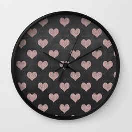 Pink Chalk Heart Pattern Wall Clock