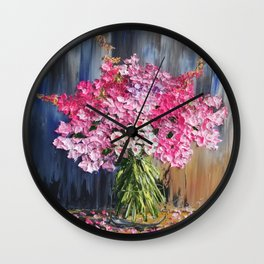 Pink Flowers Painting, Knife Oil Painting, Modern Floral Art, blue and white, Pink flowers on blue, Wall Clock