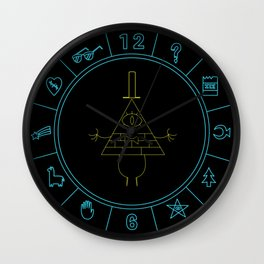 Bill Cipher Wheel clock - blue and yellow Wall Clock