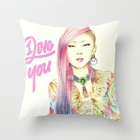 2ne1 Throw Pillows featuring I Love You Everyday by Orionebula