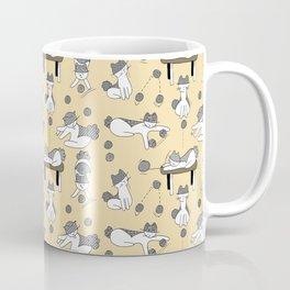 Mina Pompon plays with elbow, yellow background Coffee Mug