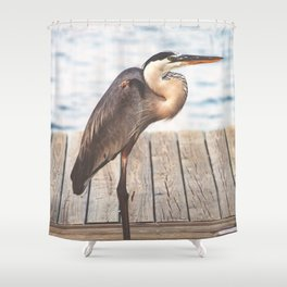 Great Blue Heron on Fishing Dock Photography Shower Curtain