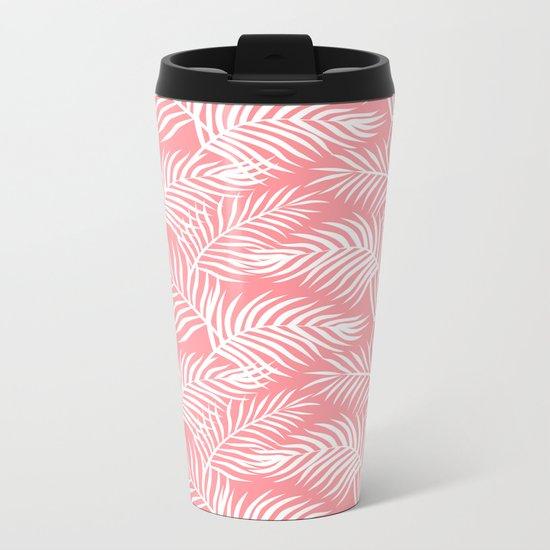 Palm Leaves_Pink Metal Travel Mug