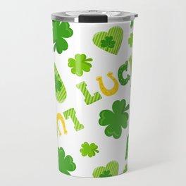 St. Patrick's Day Lucky Shamrocks and 4-Leaf Clovers Travel Mug