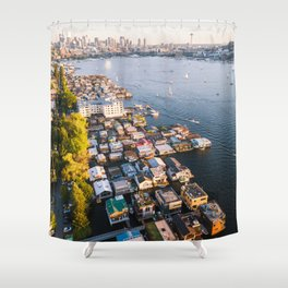 Houseboats on Lake Union Shower Curtain