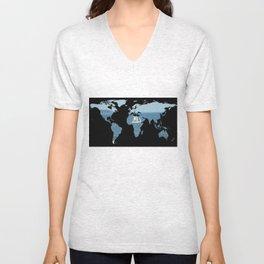World Map Silhouette - Sailing Unisex V-Neck