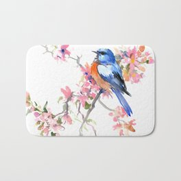 Bluebird and Cherry Blossom Bath Mat
