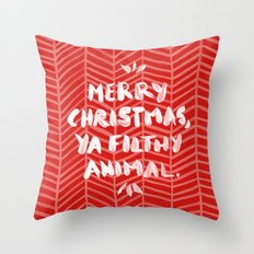 Merry Christmas, Ya Filthy Animal – Red Throw Pillow