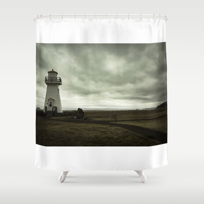 Solitary Lighthouse Shower Curtain by abstractal | Society6