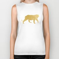 gold foil Biker Tanks featuring Gold Foil Tiger by Mod Pop Deco