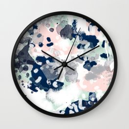 Melia - abstract minimal painting acrylic watercolor nursery mint navy pink Wall Clock