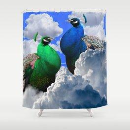 GREEN PEACOCK & BLUE PEACOCK CLOUDS MODERN ART Shower Curtain