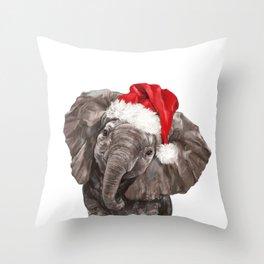 Christmas Baby Elephant Throw Pillow