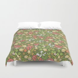 Yellow and red tulips with acacia false on dark background Duvet Cover