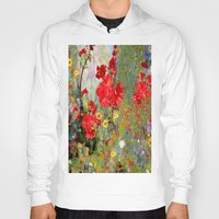 blankets Hoodies featuring Red Geraniums in Spring Garden Landscape Painting by SharlesArt