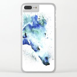 Polar Bear Diving Watercolor Painting- The Plunge Clear iPhone Case