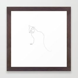 Oneline Cat Framed Art Print