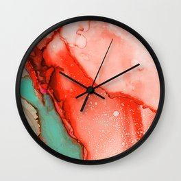 Fluid Coral & Turquoise Wall Clock