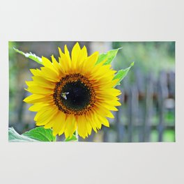 Sunflower with bee Rug