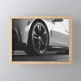 Black Rim Sports Car // White Paint Street Level B&W German Bavarian Motor Automobile Photograph Framed Mini Art Print