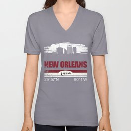 Cool New Orleans T-Shirt With GPS Coordinates Unisex V-Neck