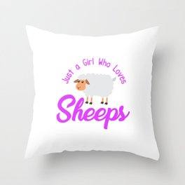 Just A Girl Who Loves Sheeps Hoodie Throw Pillow