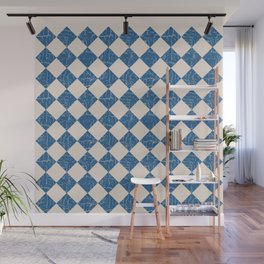 Rustic Checkerboard in Blue and Cream Wall Mural