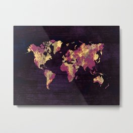 world map 86 red yellow Metal Print