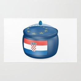 Flag of Croatia. Saucepan with a translucent cover. The symbol of the European Union. Rug