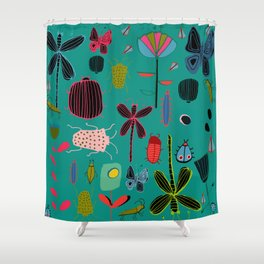 bugs and insects green Shower Curtain