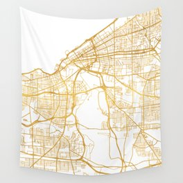 CLEVELAND OHIO CITY STREET MAP ART Wall Tapestry