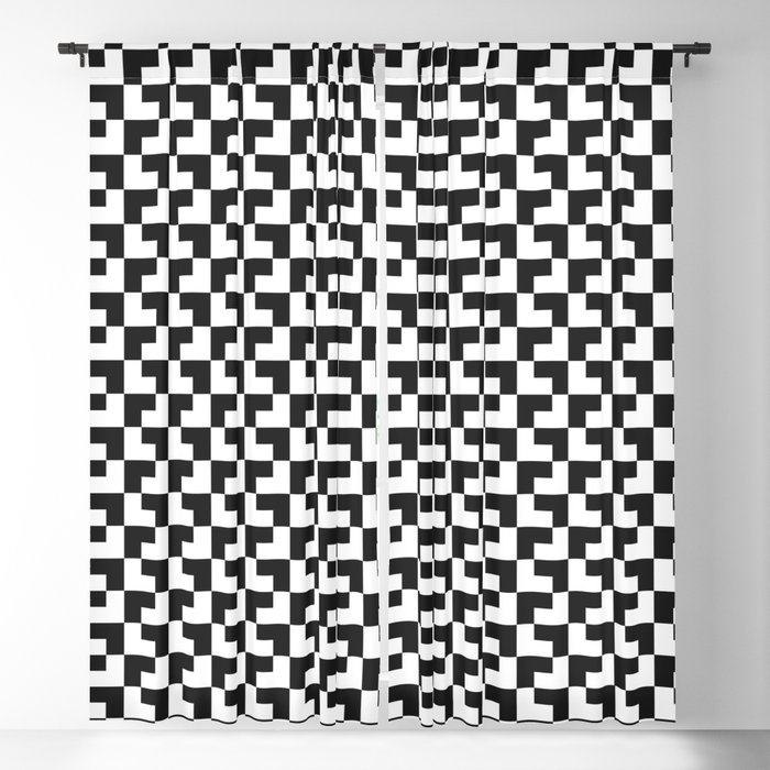 Black and White Tessellation Pattern - Graphic Design Blackout Curtain
