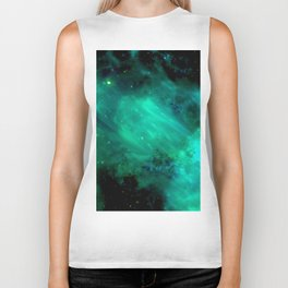 Teal Blue Indigo Sky, Stars, Space, Universe, Photography Biker Tank