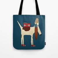aelwen Tote Bags featuring bootleg beagle  by bri.buckley