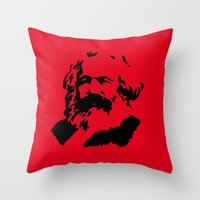 marx Throw Pillows featuring Marx by muffa
