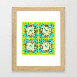 Southwestern  Lime & Turquoise Butterflies Gold Patterns Art Framed Art Print
