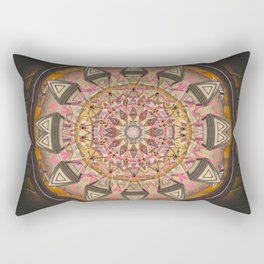 Mandala of Fortune and Prosperity in Deep Earth Tones Rectangular Pillow