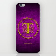 Joshua 24:15 - (Gold on Magenta) Monogram T iPhone & iPod Skin