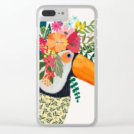 Toucan with flowers on head Clear iPhone Case
