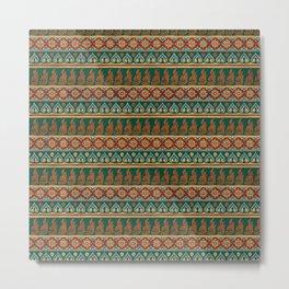 Thai Fabric Patterns - Aka Tribe Colour Palette Metal Print