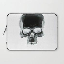 Black Skull on White Laptop Sleeve