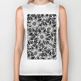 Modern Elegant Black White Tangle Flower Drawing Biker Tank