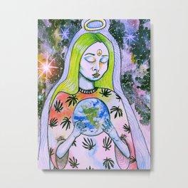 Galaxy Leaf Queen Metal Print