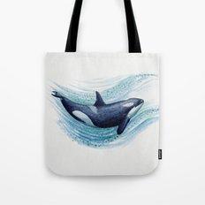 Orca Spash ~ Watercolor ~ Killer Whale Tote Bag